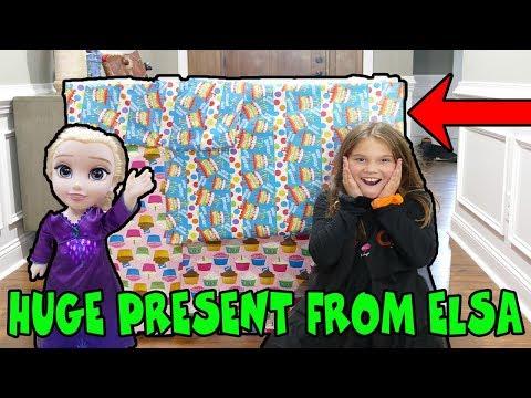 Huge Present From Crazy Elsa Doll! Halloween Scavenger Hunt Part 1