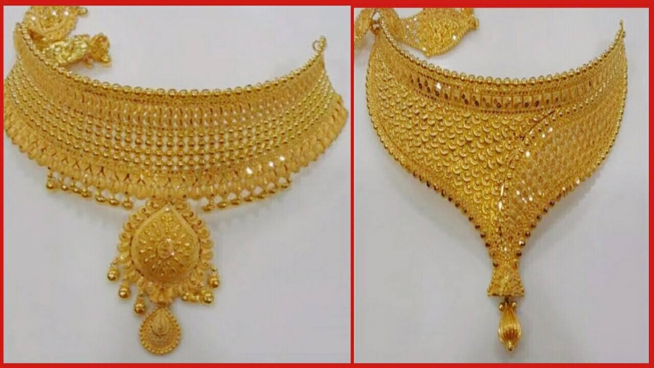 Designer Gold Choker Necklace 2018 Latest Jewellery Designs