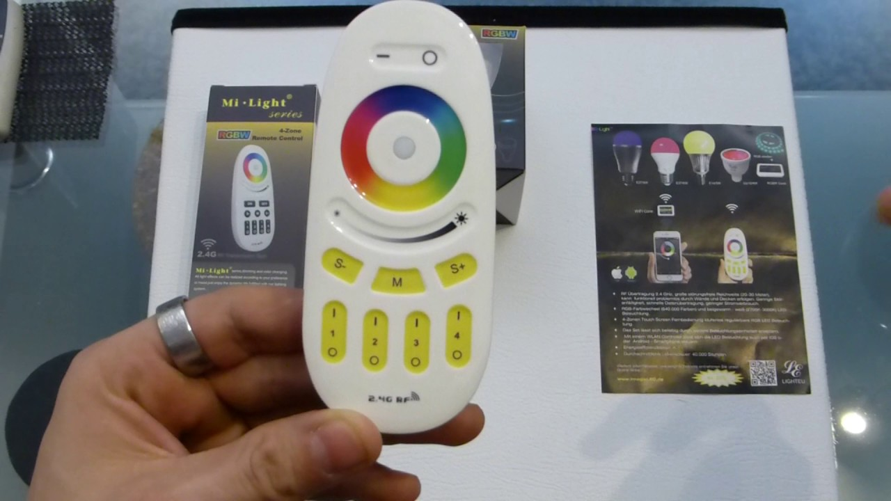 LIGHTEU, 4 x WiFi LED Lamp RGB und Warm Weißoriginal Milight 230V ...