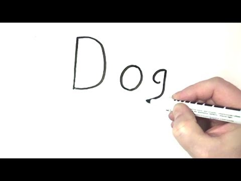 How To Turn Words Dog Into A Cartoon - Step By Step For Kids