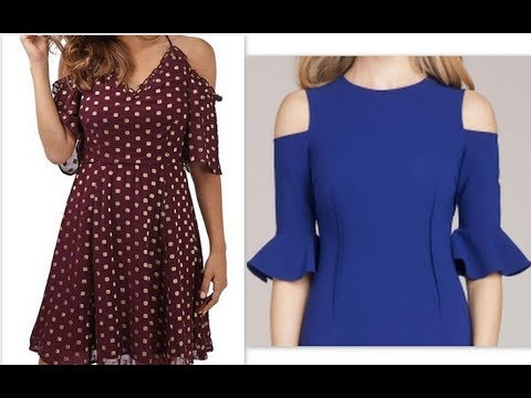 How to make midi dress with cold shoulder bell sleeves