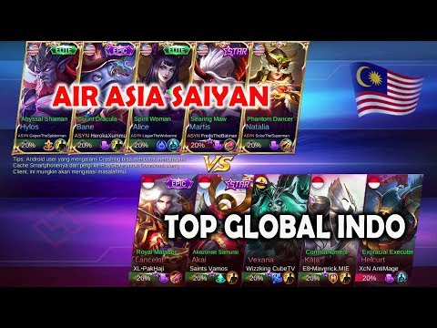 Super Big Match !!! Air Asia Saiyan Full Skuad ( Malaysia ) VS Top Global Indonesia - Mobile Legends