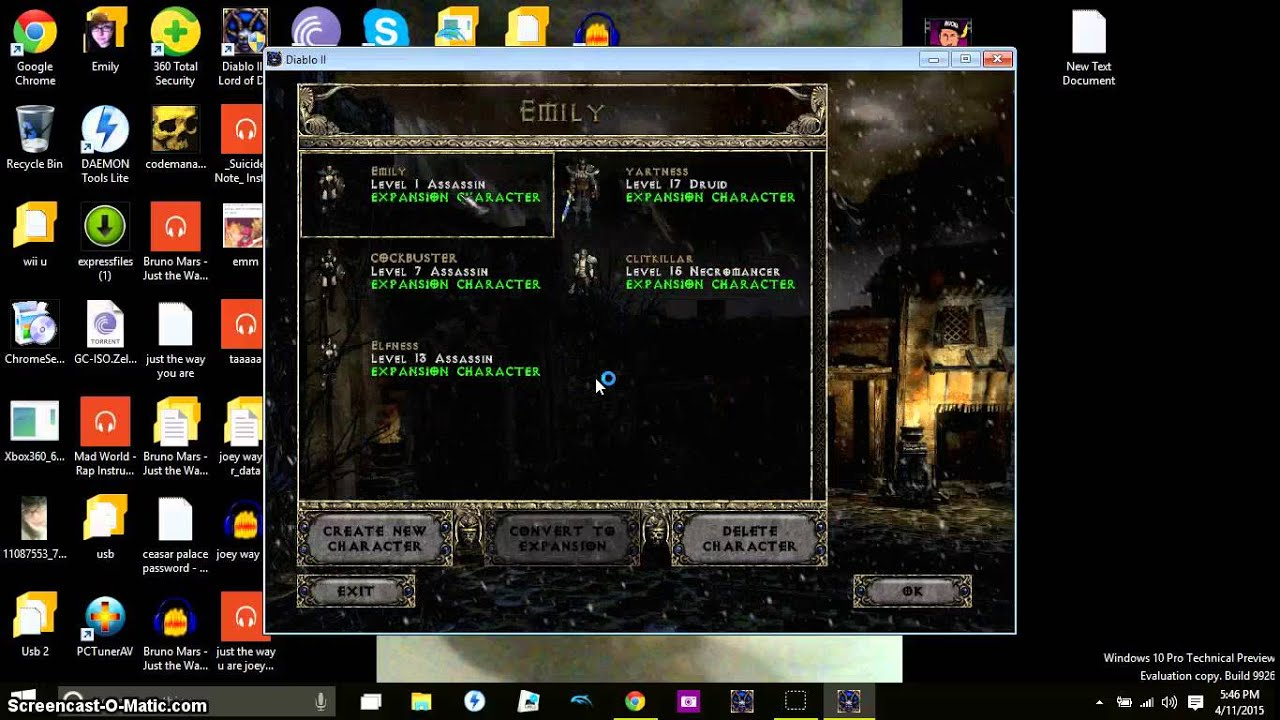 Diablo 2 LOD cheat/glitch level 33 character on act1 - YouTube