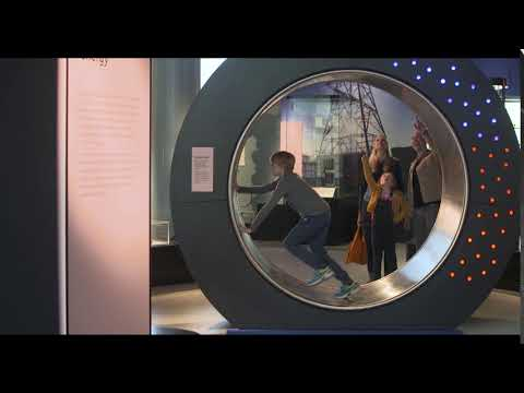 Human hamster wheel at the National Museum of Scotland