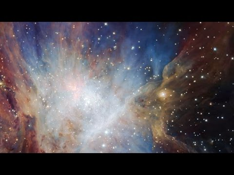 Panning across a deep infrared image of the Orion Nebula