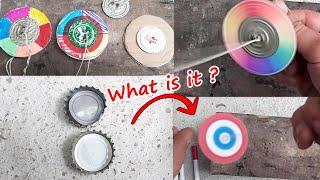 Đồ chơi con quay Fidget Toy dây kéo bằng nắp chai-Newtons Disc - Reverse RAINBOW -Summer Kid Craft