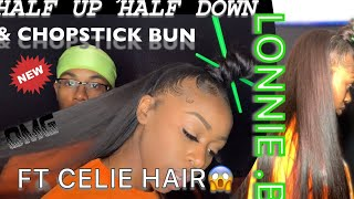 🥢CHOPSTICK BUN🥢HALF UP HALF DOWN |FT CELIE HAIR | BODY WAVE BUNDLES |ALIEXPRES | LONNIE .B