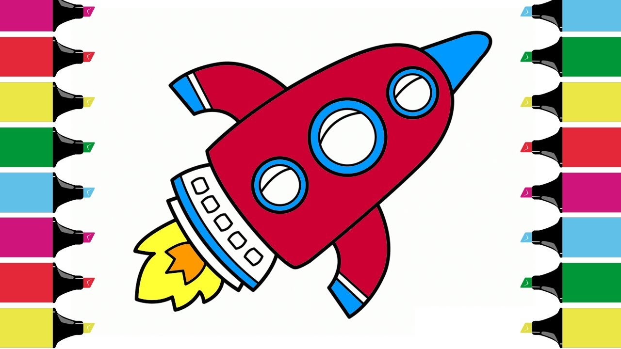 Learning Colors For Kids By Drawing ROCKET, Coloring Pages