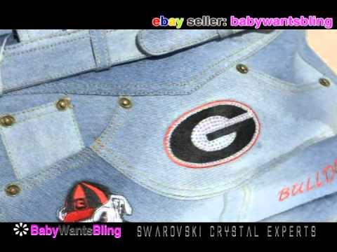 26a0f807e90 Swarovski Georgia Bulldogs Crystal Bling Rhinestone Blue Jean Denim Handbag  Purse