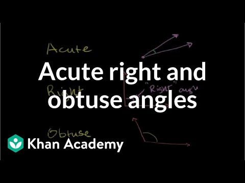 Acute right and obtuse angles | Angles and intersecting lines | Geometry | Khan Academy