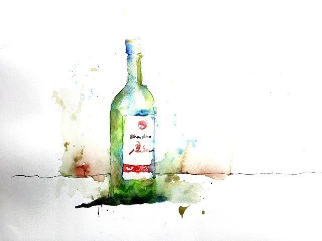 Drawing And Painting A Green Wine Bottle In Watercolor With Chris Petri Part 1 Of 2 Youtube