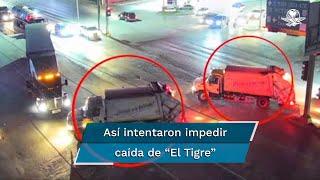 """Camiones de recolección de basura municipal de Matamoros apoyaron al Cártel del Golfo en los bloqueos de vialidades para obstaculizar la persecución de Ariel Treviño  """"El Tigre"""", según muestran cámaras de seguridad"""