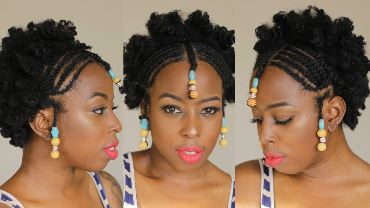 African Braids And Beads On Short Natural 4c Hair Youtube