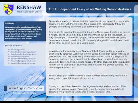TOEFL Independent Writing Task - Live Essay Demonstration 1