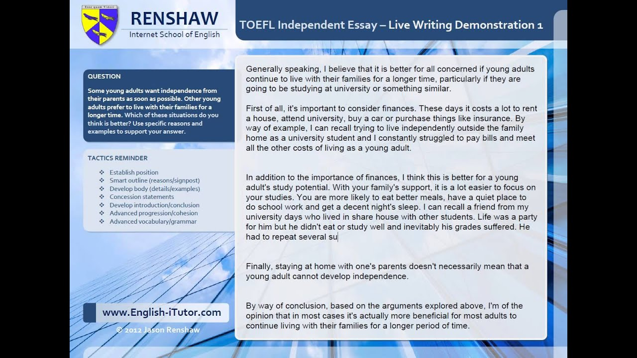 toefl ibt writing essays Get 5 score on toefl independent writing task the toefl independent  essay is the very last task on the toefl ibt, and it can be one of the most.