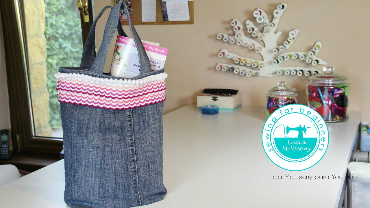 Upcycling denim jeans tote bag youtube for Jeans upcycling ideas