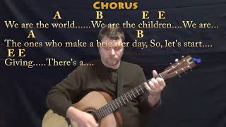 We Are the World (USA For Africa) Guitar Lesson Chord Chart in E & F - Chords/Lyrics