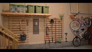 DIY Garage Organization - Wood Rail wall unit