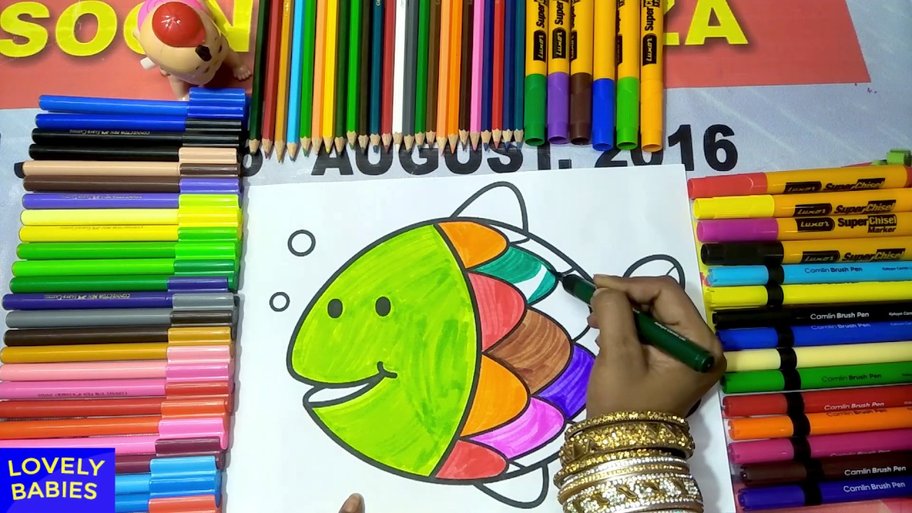 Coloring Page fish for Kids and Children | Learn Colors for kids ...