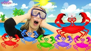 Five Little Crabs Dancing in the Send – Funny Songs for Children on HeyHop Kids