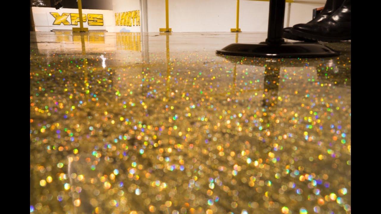 DIY Metallic Epoxy Floor Application (Gold Glitter) - YouTube