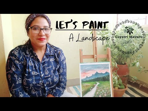 Landscape painting with acrylics for beginners || easy step by step tutorial || Paint with me