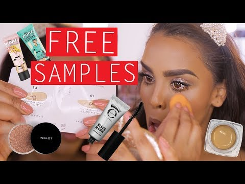 FULL FACE USING FREE MAKEUP SAMPLES?!😱NikkisSecretx