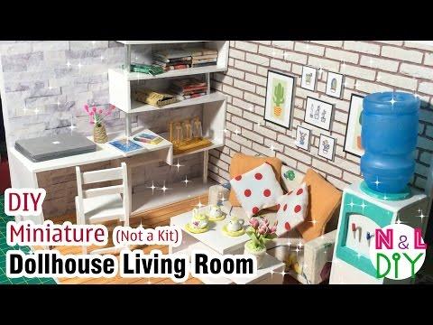 DIY Miniature Dollhouse Living Room | How to make furnitures for Dollhouse Living Room (Not a kit)