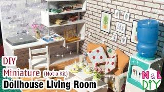 DIY Miniature Dollhouse Living Room   How to make furnitures for Dollhouse Living Room (Not a kit)