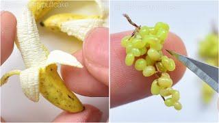 Miniature Art Making of Miniature Fruit 🍌 | FOOD | Strawberrypuffcake