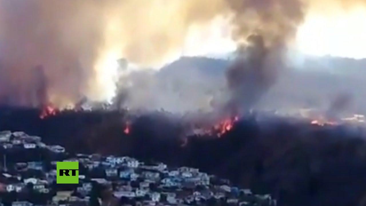 (CHILE, 25 December 2019) Alerta roja por un voraz incendio forestal en Valparaíso, Chile