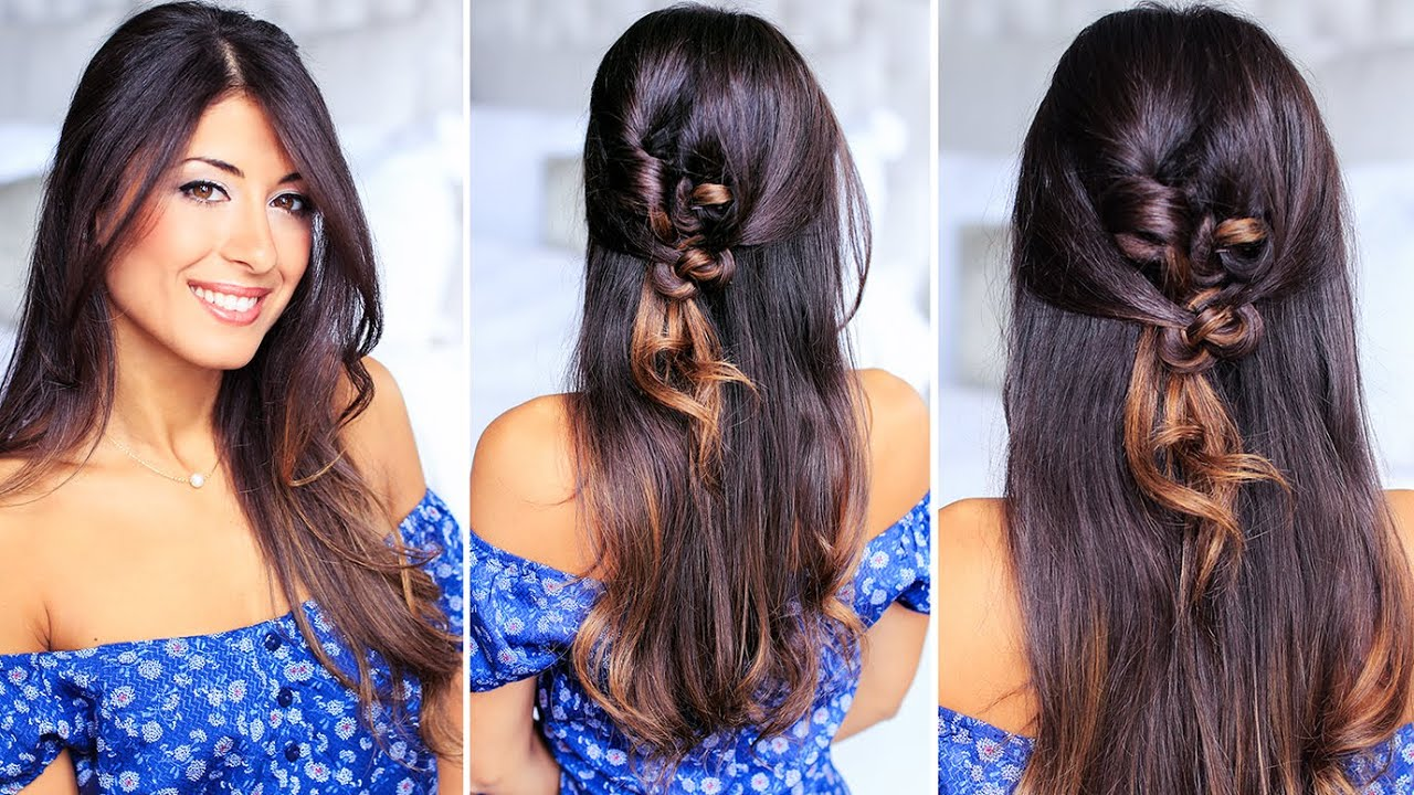 simple knotted hairstyle for medium and long hair - youtube