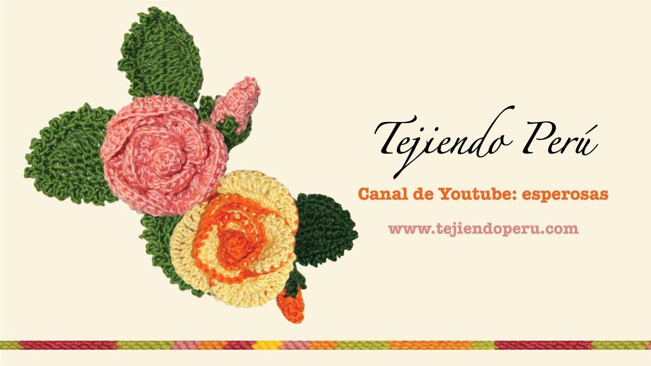 Rosas (flores y botones) tejidos a crochet - YouTube