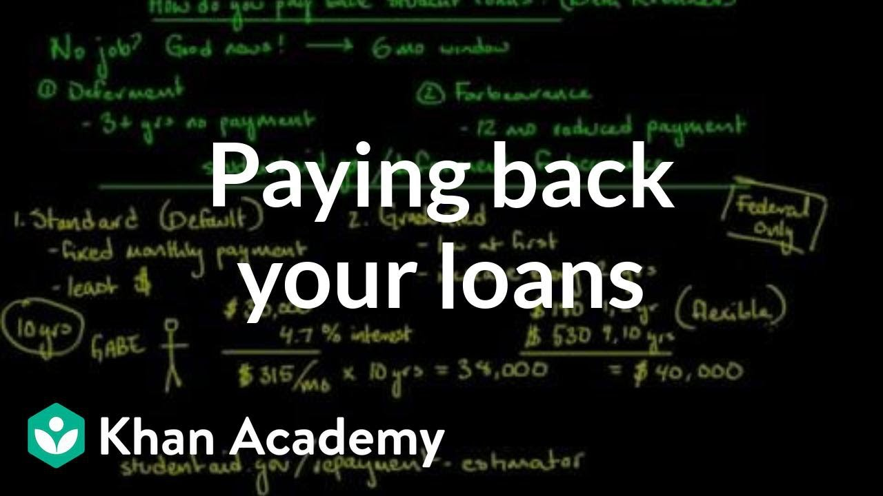 Paying back your loans (video) | Loans | Khan Academy