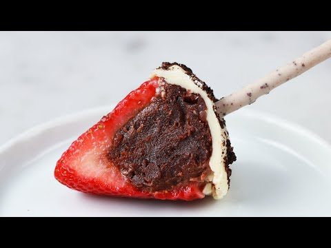 How To Stuff Strawberries With Brownie Truffles • Tasty