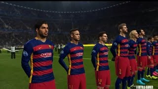 pes 2016 uefa champions league fc barcelona vs real madrid gameplay narrado pt br