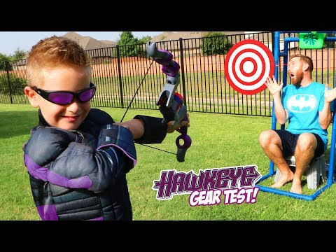 Hawkeye BOW! Super Hero Gear Test and Bunch o Balloons Challenge!