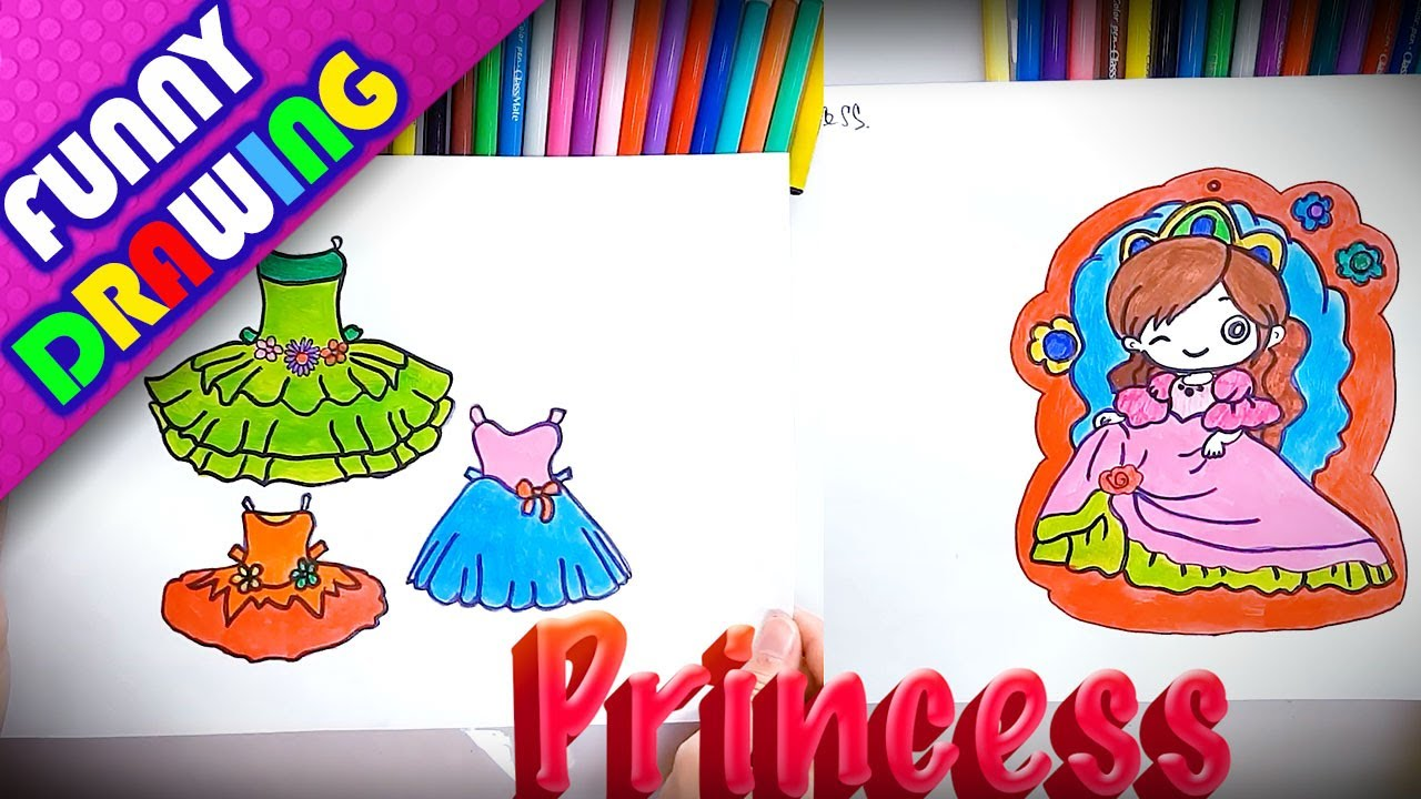 DIY - How to draw a pretty princess dress easy - Dạy bé vẽ và tô màu
