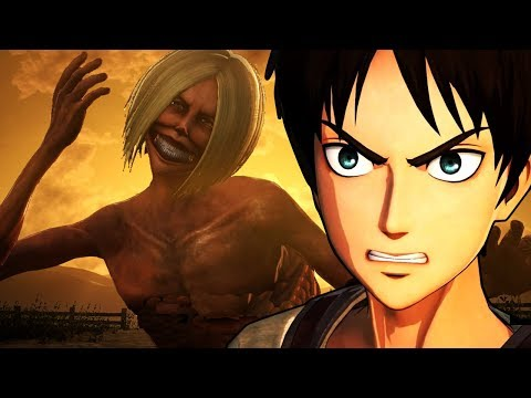 Attack on Titan Wings of Freedom Eren(No Jacket) Vs Smiling Titan 99+Perfected Gear Gameplay