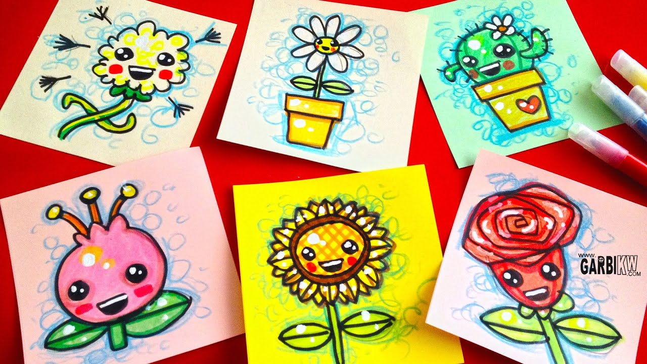 how to draw cute flowers easy & kawaii drawings by garbi kw - youtube