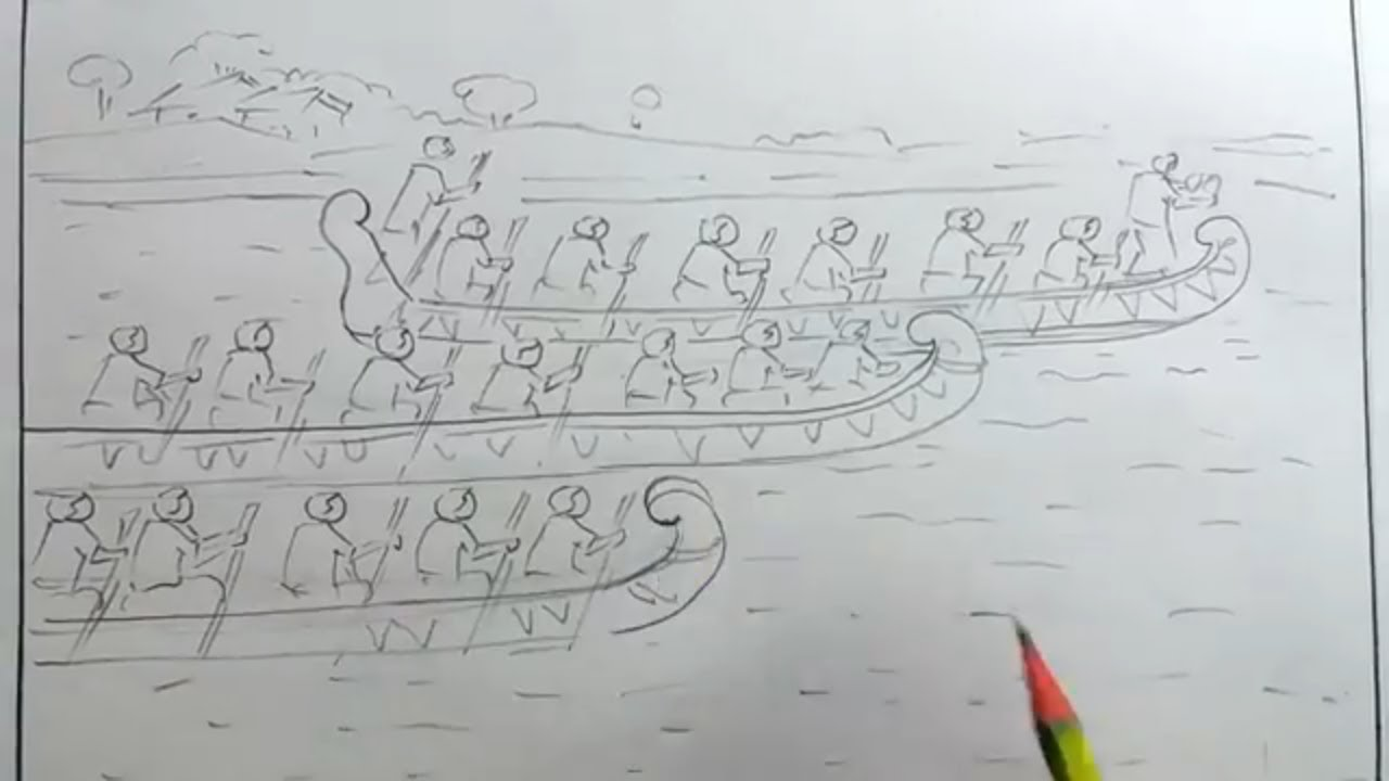How to draw scenery of boat races step by step the festival of bangladesh