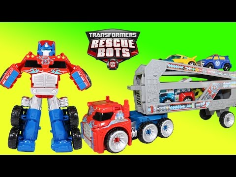 Transformers Rescue Bots Optimus Prime Rescue Trailer Hauls Chase Bumblebee Blades & Heatwave