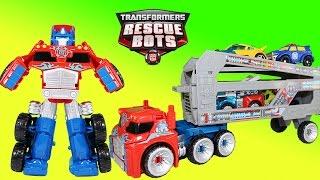 Transformers Rescue Bots Optimus Prime Rescue Trailer Hauls Chase Bumblebee Blades & Heatwave