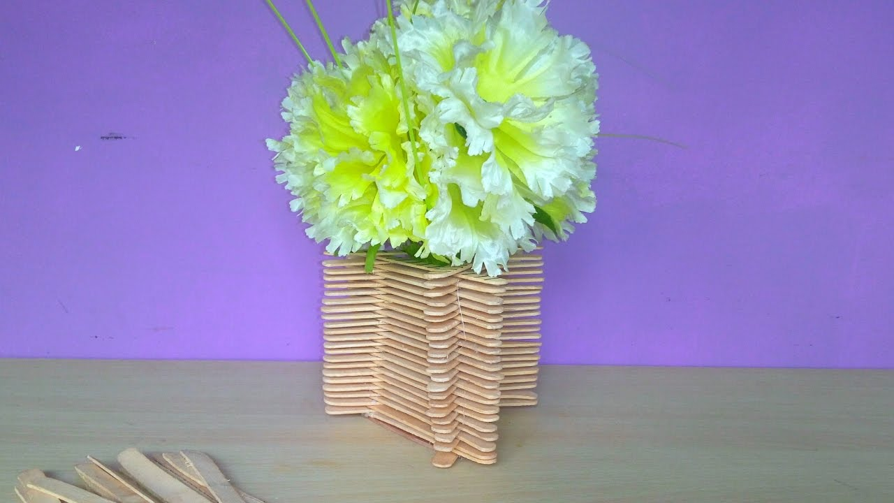 How To Make A Flower Pot With Ice Cream Sticks At Home