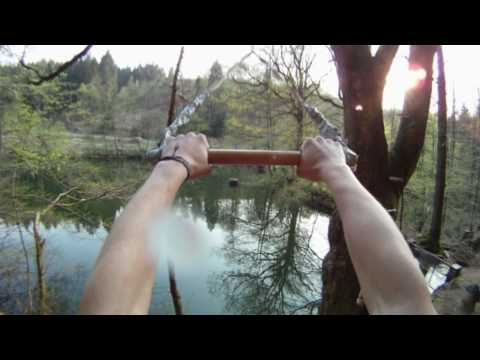 Rope Swing and Tree Jumps into Small Cold Lake