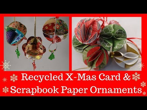 Recycled Christmas Card And Scrapbooking Paper Christmas Tree Ornaments