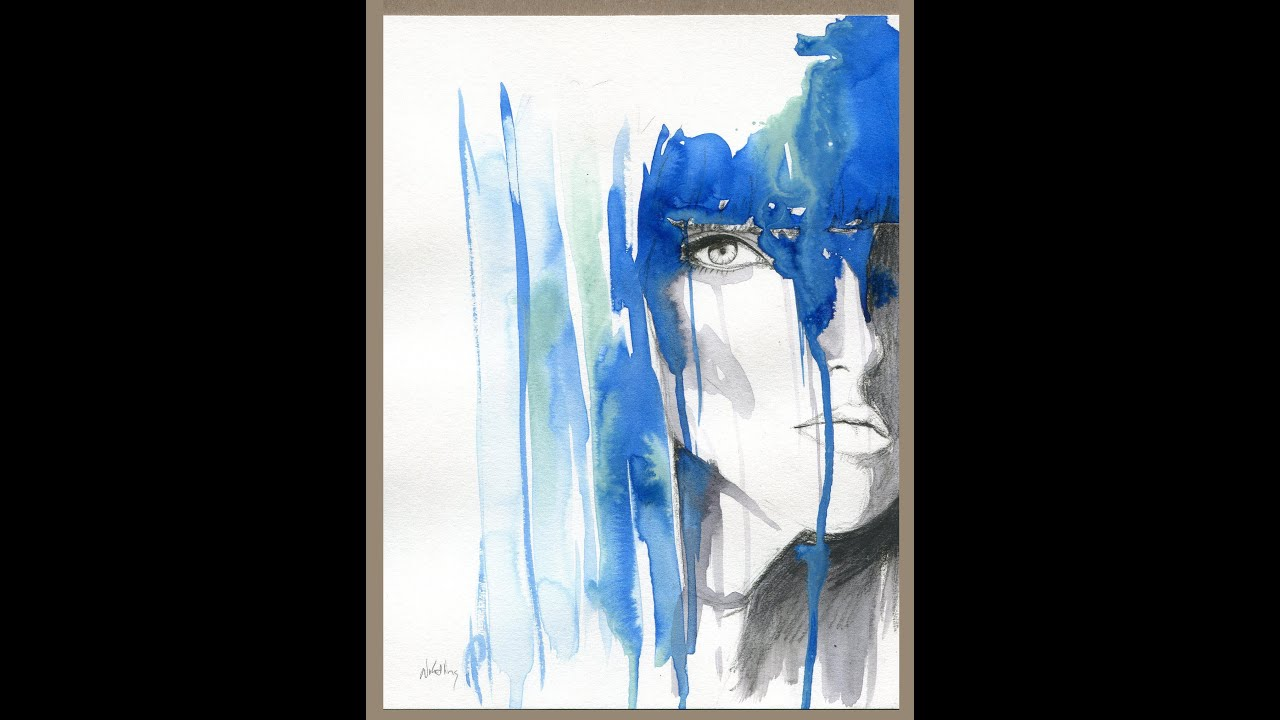 Abstract Paint Drip Woman' Face Ink Charcoal Painting
