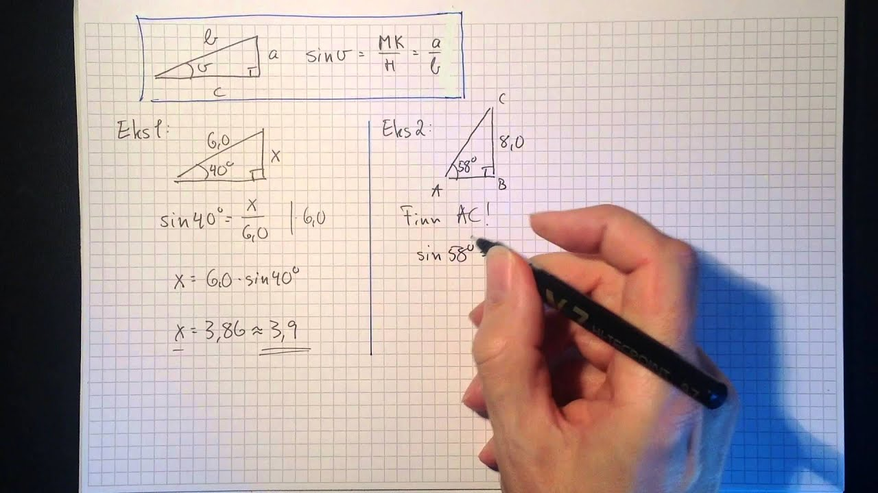 Matematikk 1T Trigonometri: Sinus, cosinus og tangens Del 1