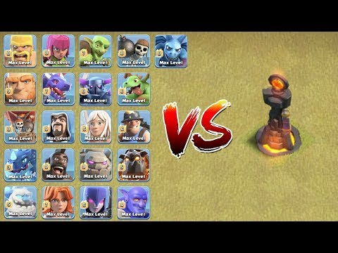 LVL 1 SINGLE TARGETED INFERNO TOWER VS ALL MAX TROOPS ! WHO WILL WIN ? | CLASH OF CLANS