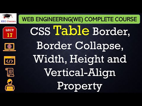 Css Lecture 8 Table Border Border Collapse Width Height And Vertical Align Property